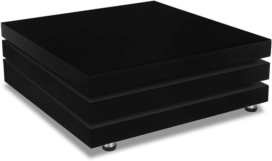 Deuba Mesa de Centro Moderna y Negra mesita lacada Brillante 80 x ...