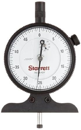 "Starrett 640 Series Dial Depth Gauges, Indicator Type, Inch, 0-1/2"" Range"