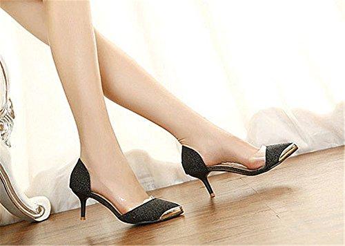 Talons cm Fermé 6 Paillette Or Noir wealsex Femme Moyen Couleur Sandales Haute Bout Escarpins zqYzwT0x