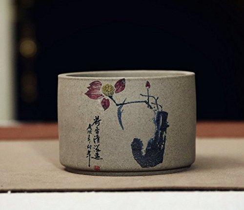 Handmade Ceramic Home/ Garden Antique Chinese Lotus Design Flower Planter Pot, Short Cylinder Shape, Gray Color