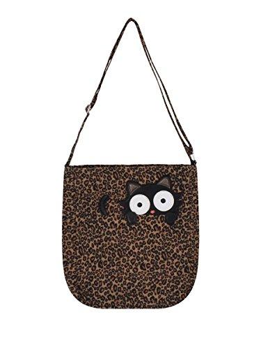 Peeping Black Cat On Leopard Canvas Messenger Bag