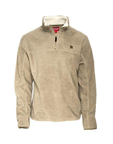Coleman Quarter Zip Heather Sherpa Pullovers for Men (Large, Deerskin)