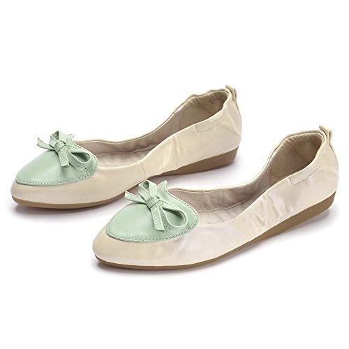 AllhqFashion Damen Ziehen auf Spitz Zehe Niedriger Absatz PU Leder Flache Schuhe Aprikosen Farbe