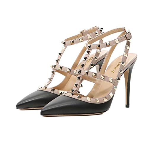 Chris-T Women Pointed Toe Studded Strappy Slingback High Heel 4 Inches Leather Pumps Stilettos Sandals Black Size 7 US