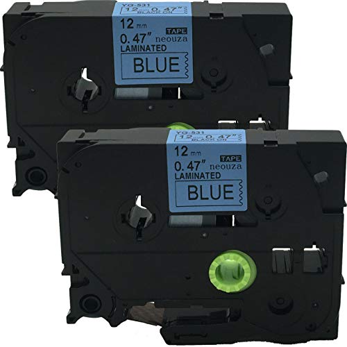2PK Black on Blue Label Tape Compatible for Brother TZ 531 TZe 531 12mm P-Touch 8m
