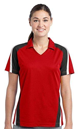- Sport-Tek Women's Tricolor Micropique Sport WickPolo, True Red/Black/White, XXX-Large
