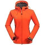 Mount Conquer Damen Softshelljacke Fleecefutter Kapuze Winddicht Wasserdicht Outdoor Camping Wandern Sport Jacke (X-Large, Orange)