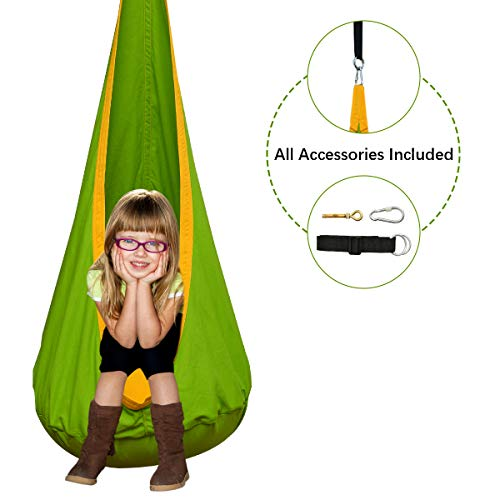 Cchainway Kids Pod Swing Seat 100% Cotton Child Hammock Chair for Indoor and Outdoor use(All Accessories Included)(Green)