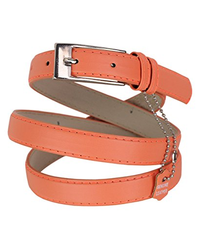 Belt Peach (NYFASHION101 Women's Classy Skinny Bonded Leather Casual Belt with Shiny Buckle (S (30