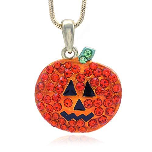 Happy Halloween Trick or Treat Jack-O-Lantern Pumpkin Necklace Pendant Charm Costume Fashion Jewelry ()