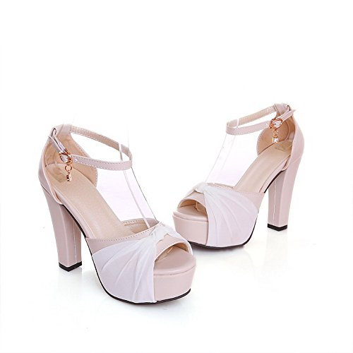 Assorted Buckle PU Color Toe Peep High Beige Heels WeenFashion Women's Sandals qSwnI511