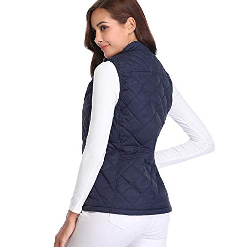 (Women's Basic Solid Quilted Padding Jacket Vest,Thick Warm Waistcoat Vest Coat)