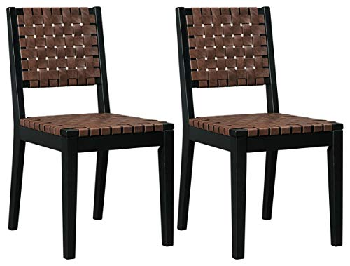 Ashley Furniture Signature Design - Glosco Dining Chair - Contemporary Style - Woven Back - Set of 2 - Black / Brown
