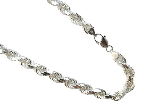 JOSCO 9mm Rope Thick Men's Chain .925 Italian Sterling Silver Diamond-Cut Necklace. 20,22,24,30 (30 Inches)