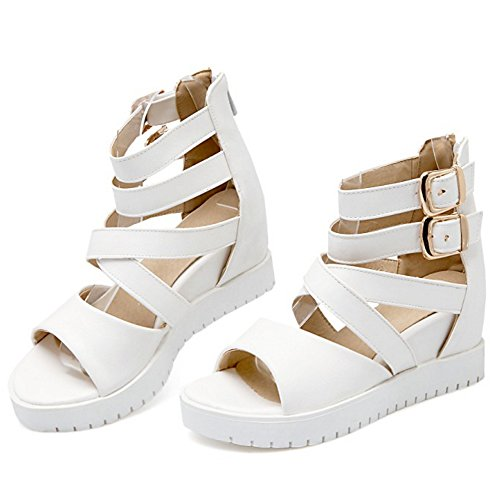 TAOFFEN Women Comfort Ankle Buckle Strap Hidden Heel Sandals with Zipper White mG1rDQh