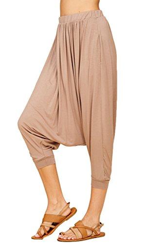 Annabelle Women's Comfy Harem Jogger Pants XXX-Large Taupe Grey