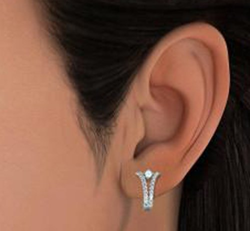 18 K Or Blanc 0.54 CT TW Round-cut-diamond (IJ | SI) et aigue-marine Boucles d'oreilles créoles