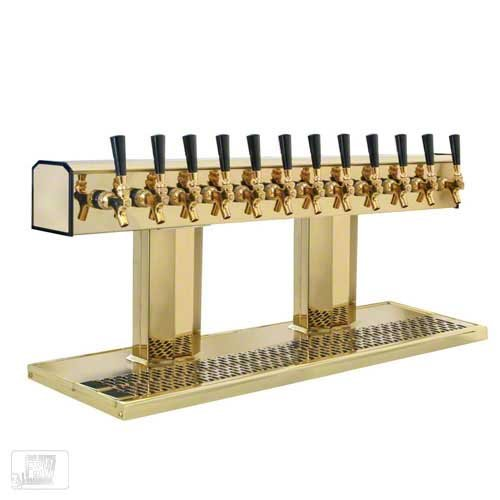 (Glastender (BT-12-PBR) - Polished Brass 12-Faucet Tee Tower )