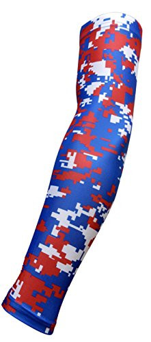 New! Royal Blue Red White Digital Camo Arm Sleeve - Moisture Wicking Compression (Small)