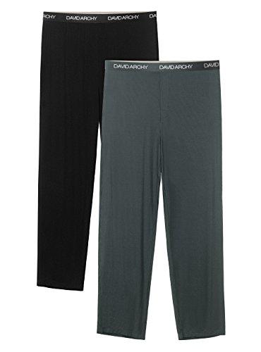 David Archy Mens 2 Pack Bamboo Rayon Long Pajamas Pants Loungewear Sleep Bottoms