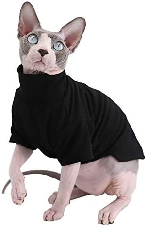Sphynx Cat Clothes Winter Thick Cotton T-Shirts Double-Layer Pet Clothes, Pullover Kitten Shirts with Sleeves, Hairless Cat Pajamas Apparel for Cats & Small Dogs 13