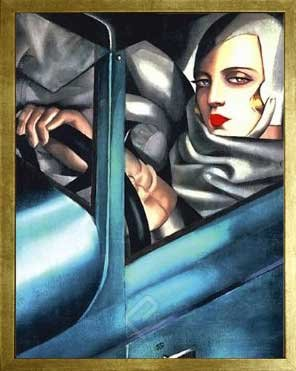 Self Portrait by Tamara de Lempicka. Blue Vintage Car. Framed Fine Art Print Poster. Custom Made Real Wood Modern Scratched Gold Frame (17 1/8 x 21 1/8)