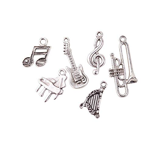 Instrument Antique (Pandahall 5Sets/30pcs Mixed Sets Musical Instruments Antique Silver Tibetan Style Alloy Pendants Guitar Harp Trumpet Piano Musical Note Treble Clef Necklace Charms Lead Free)