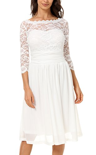 DILANNI Women Vintage Floral Lace Top Backless Bridal Bridesmaid Wedding Dress,White,3XL