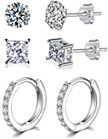 Silver Stud Earrings for Women | Silver Hoop Earrings,925 Sterling Silver Stud & Hoop Earrings with AAA+ Cubic Zirconia,3...