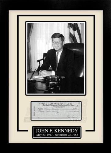 John F Kennedy JFK Facsimile Sign Autograph Personal Check Framed 8x10 Display