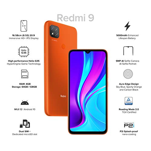 Redmi 9 (Sporty Orange, 4GB RAM, 64GB Storage) | 5000 mAh| 2.3GHz Mediatek Helio G35 Octa core Processor Discounts Junction