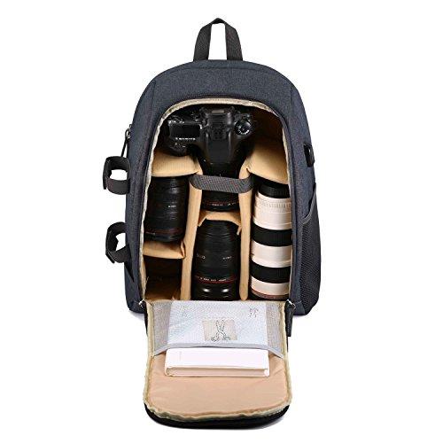Professional Camera Backpack for DSLR/SLR Lens Camera Accessories USB Charging Port Daily Travel Bag ( Gloden Khaki)