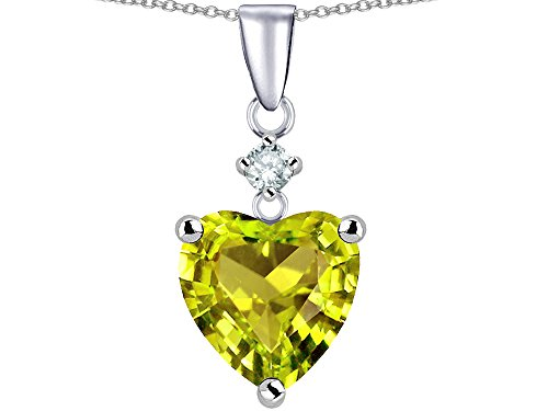 (Star K 8mm Heart Shape Simulated Peridot and Cubic Zirconia Pendant Necklace Sterling Silver)