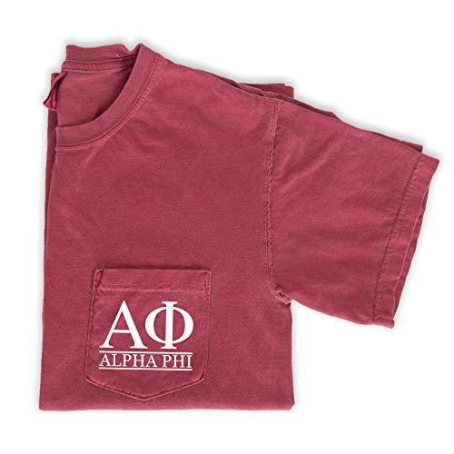 Alpha Phi Block Letters Pocket T-Shirt (Medium) Crimson