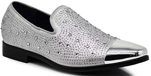 SPK12 Men's Vintage Fashion Sparkle Rhinestone Patent Toe Designer Dress Loafers Slip On Shoes Classic Tuxedo Dress Shoes (10.5 D(M) US, Silver_New)