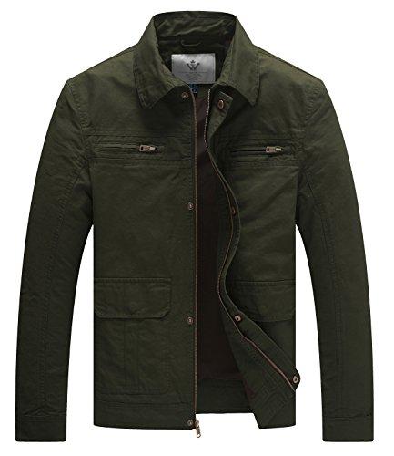 WenVen Men's Casual Outdoor Sportswear Military Jacket(Army Green,Medium) (Casual Sportswear)