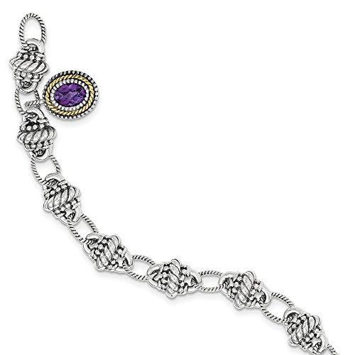 Mia Diamonds 925 Sterling Silver and 14k Yellow Gold Amethyst Bracelet -