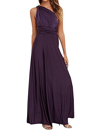 PARTY LADY Women's Sleeveless Halter Neck Chiffon Flowy Maxi Evening Party Dress Size M Deep Purple ()