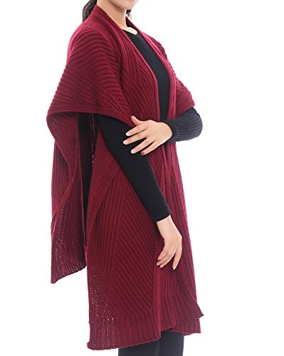 Bruceriver Women Knit Wool Feel Open Front Poncho Wrap Cardigan Sweater Topper (Burgundy)