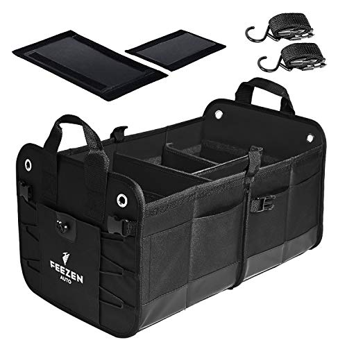 Feezen Car Trunk Organizer for SUV, Truck, Auto. Durable Collapsible Cargo Storage. With Extremely Strong Non-Slip Bottom Strips & Black Straps to Prevent Sliding. Waterproof Bottom, Durable Materials (Pick Assesories Up)