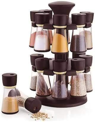 Fashion Mart India Plastic Spice Rack Plastic Revolving Spice Rack Set, 120ml Each (Set of 16) Black (Plastic) Price & Reviews