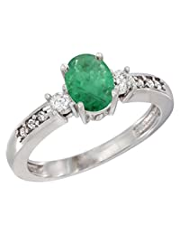 14K White Gold Diamond Natural Quality Emerald Engagement Ring Oval 7x5 mm, size 5-10