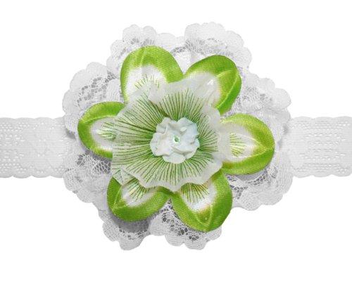 (Webb Direct 2U Baby-Girls Daffodil & Lace Hair Bow Headband Green (G6008HB))