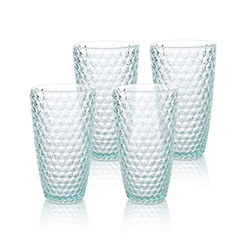 BELLAFORTE – Shatterproof Tritan Tall Tumbler Teal – 19oz, set of 4, Laguna Beach Drinking Glasses – Dishwasher Safe…