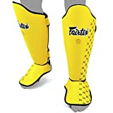 Fairtex SP5 Shin Guards Competition Thai Boxing Shin Pads Guards Muay Thai Kick Boxing MMA Protective (Yellow, Medium)