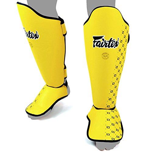 Fairtex SP5 Shin Guards Competition Thai Boxing Shin Pads Guards Muay Thai Kick Boxing MMA Protective (Yellow, Medium) by Fairtex