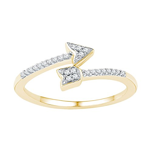 10kt Yellow Gold Womens Round Diamond Bisected Arrow Band Ring 1/12 Cttw by JawaFashion