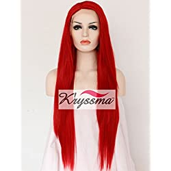 K'ryssma Red Color Natural Looking Synthetic Lace Front Wigs for Fashion Women Long Straight Fiber Hair Heat Resistant Full Wig 24 Inches