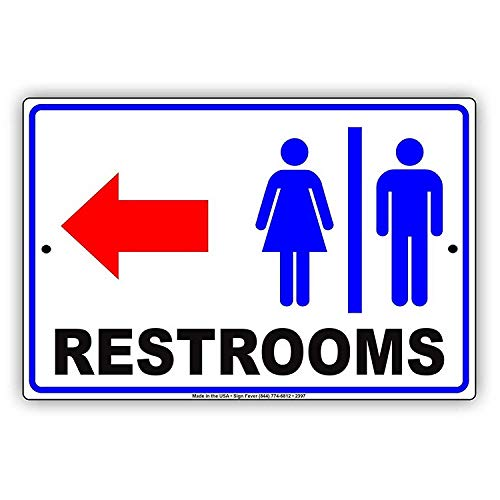 (456Yedda Metal Sign Restrooms for Women & Men Bathroom Left Arrow Business Restaurant Sign 8 X 12 Inches)