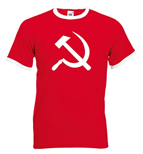 fan products of Hammer and Sickle Soviet Retro Football T-shirt (XXL, Red)